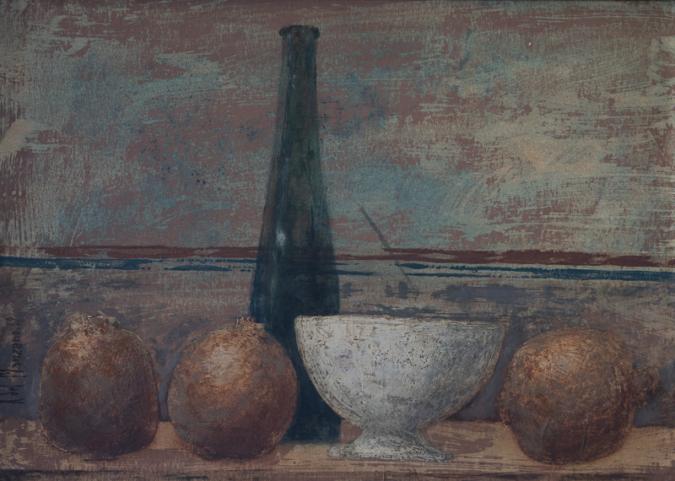 Granadas con tazón y botella